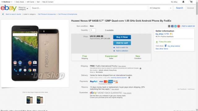 eBay Nexus 6P Gold