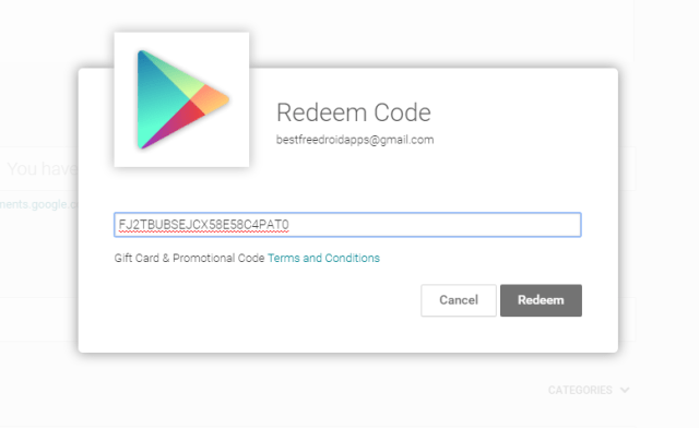 Free Google Play Redeem Codes List for Apps (updated daily)