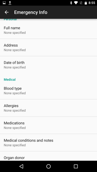 Emergency Info in Android 7.0 Nougat