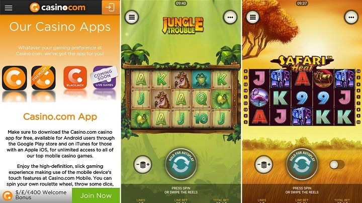 Games on the casino.com Android app