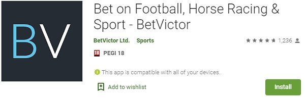 BetVictor app in the Google Play store