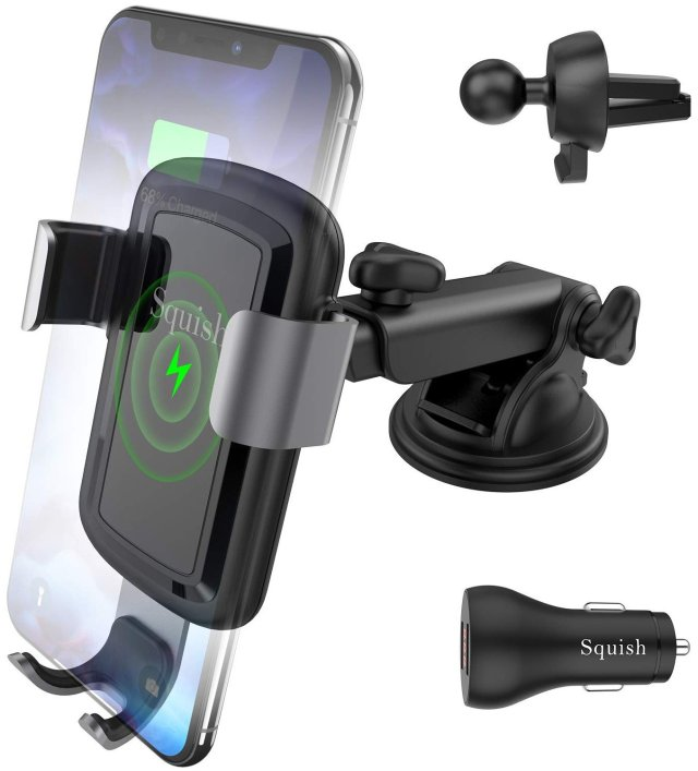 Squish Wireless Car Charger with QC 3.0 Car Charger