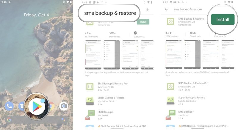 """Inicie a Google Play Store na tela inicial ou na gaveta de aplicativos. Toque na barra de pesquisa e pesquise Backup e Restauração de SMS, depois toque no aplicativo SMS Backup and Restore gratuito, que deve ser o melhor resultado """"class = """"lightbox grande para imagem"""">></p data-recalc-dims="""