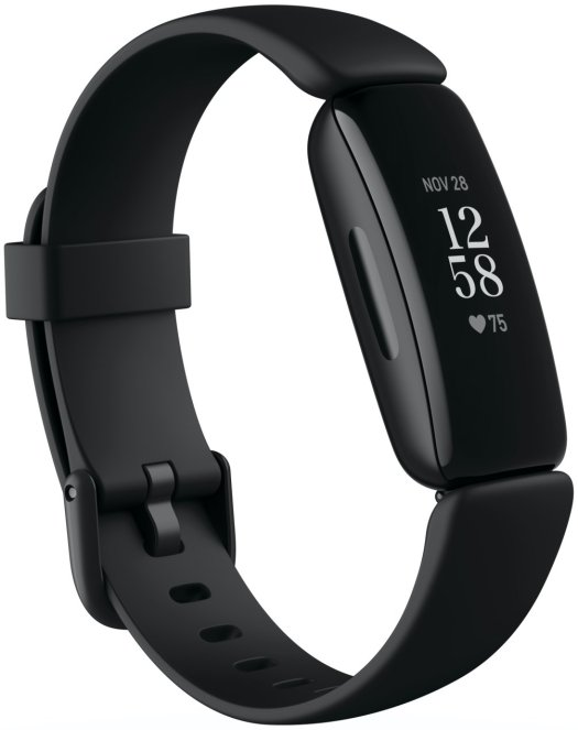 Product render of Fitbit Inspire 2, 3QTR view, in Black.