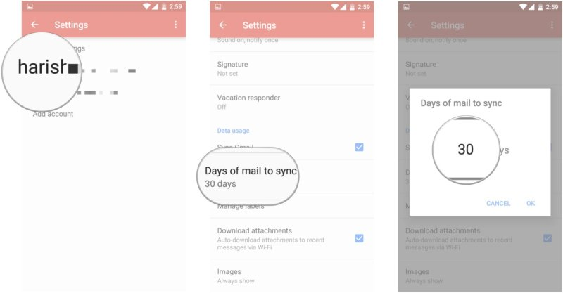 Gmail account settings email sync