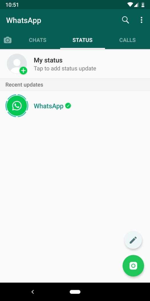 WhatsApp Status page