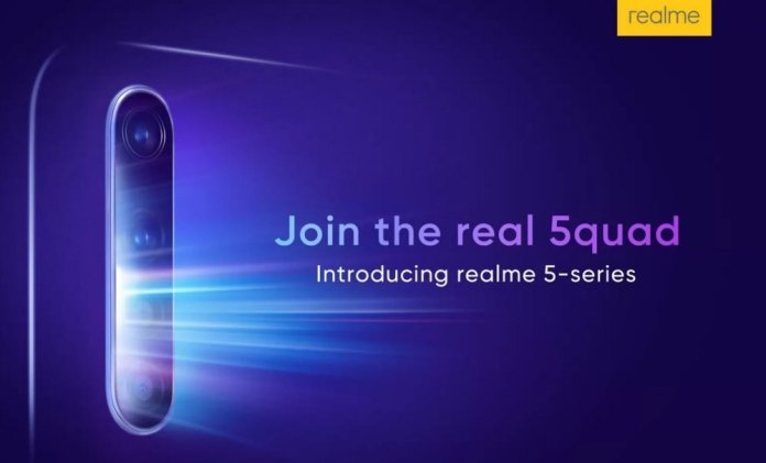 Realme 5 series smartphones with quad cameras will arrive on August 20