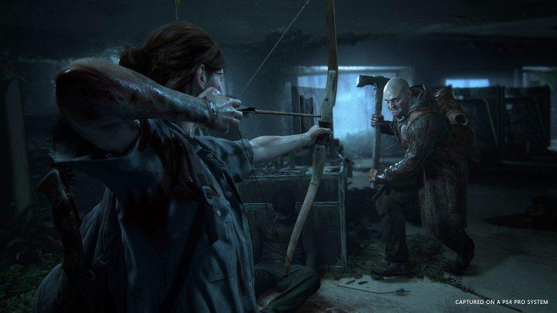 Ellie using a bow