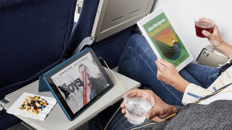 Amazon Fire HD Tablet on plane official lifestyle