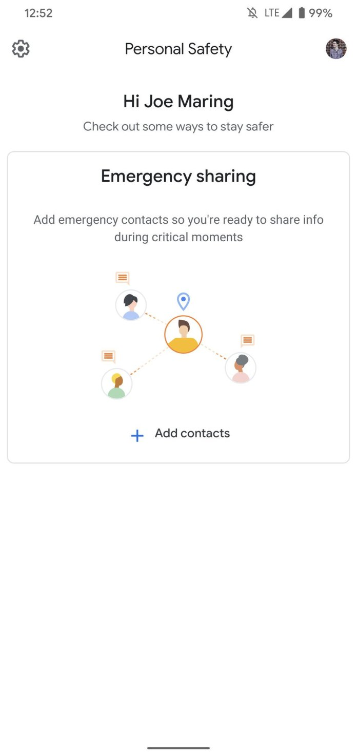 Setting up emergency contacts on the Pixel 4's Personal Safety app