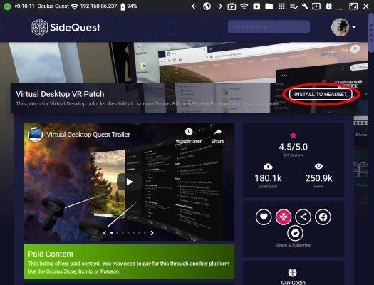 Virtual Desktop Sidequest