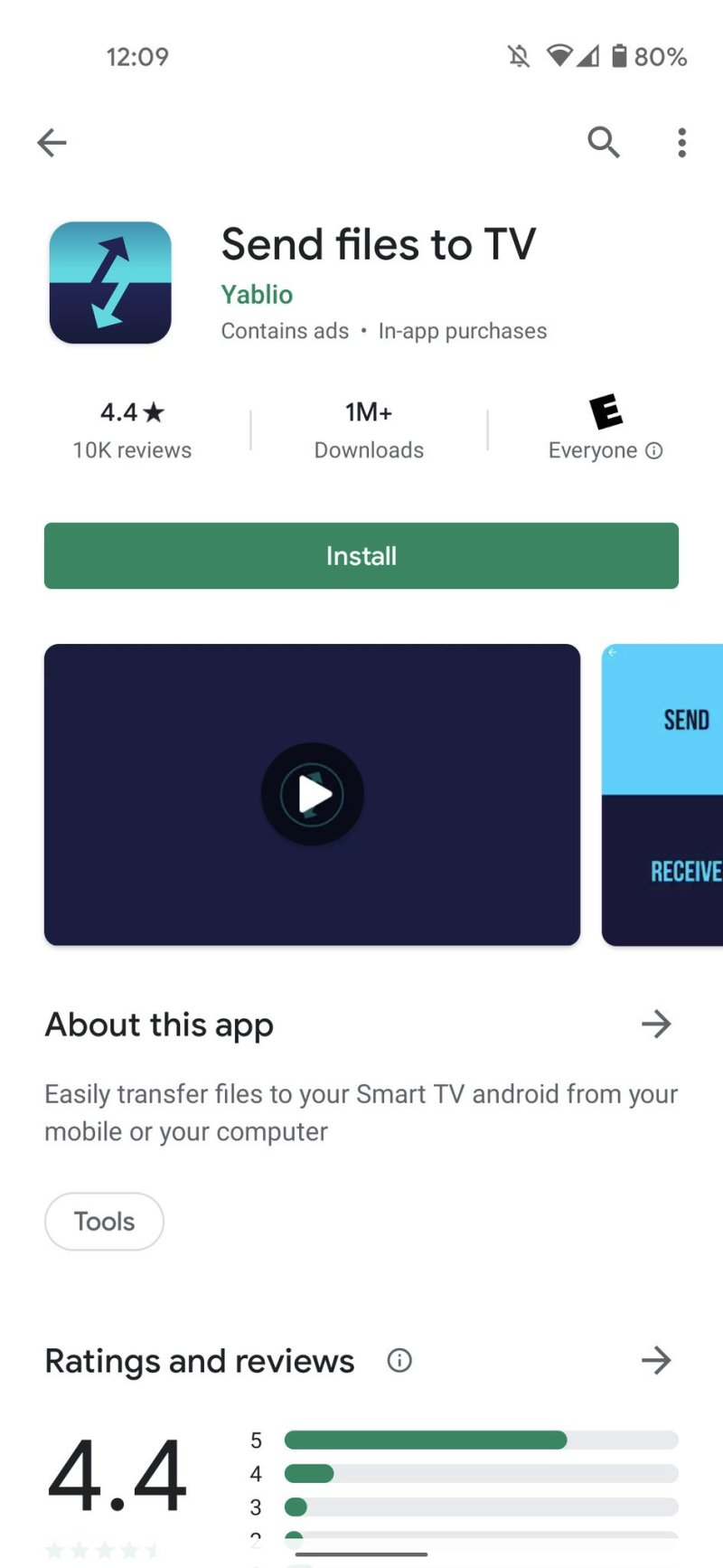 Send files to the TV app in the Play Store