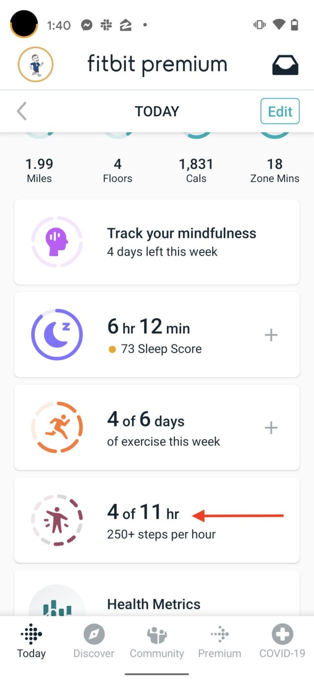 Fitbit Move Reminder Step 1