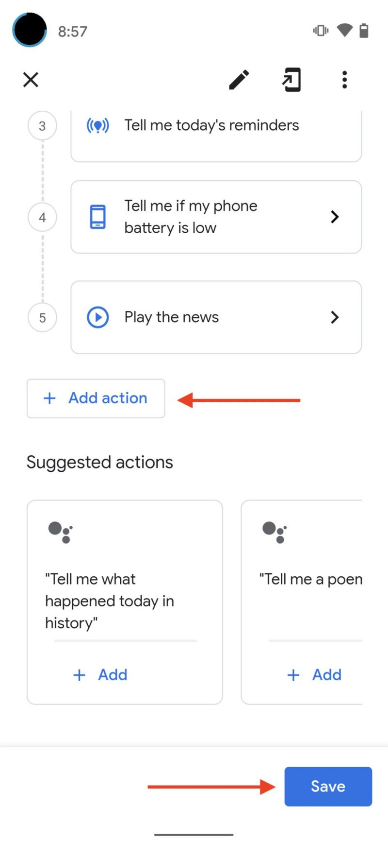 Google Assistant Morning Routine Step 12