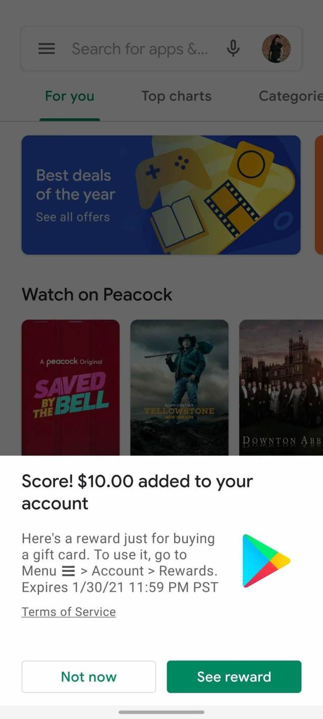 Google Play Gift Card Redemption