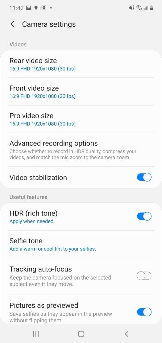 Samsung Camera App Settings Step 2