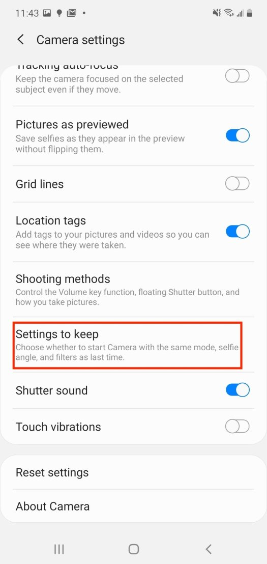 Samsung Camera App Settings Step 3