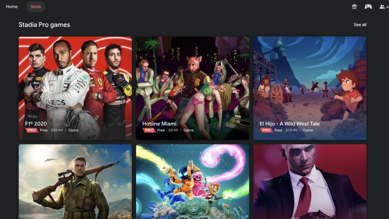 Screenshot of available Stadia Pro games
