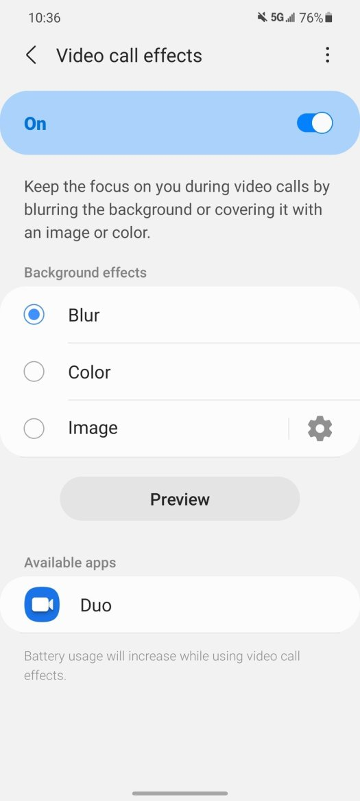 Enabling video call effects on a Samsung phone