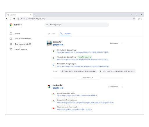 Google Chrome Journeys Experiement