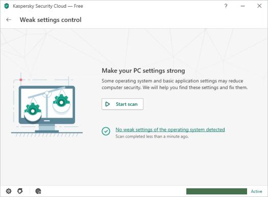 Kaspersky Security Cloud Weak Settings scan