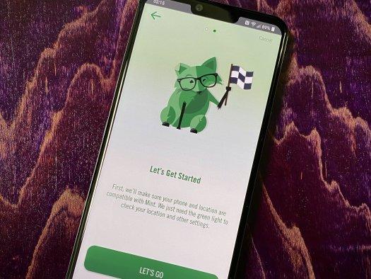 Mint Mobile app on wood