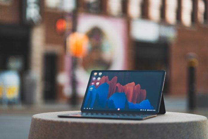 Samsung Galaxy Tab S7+ with keyboard cover