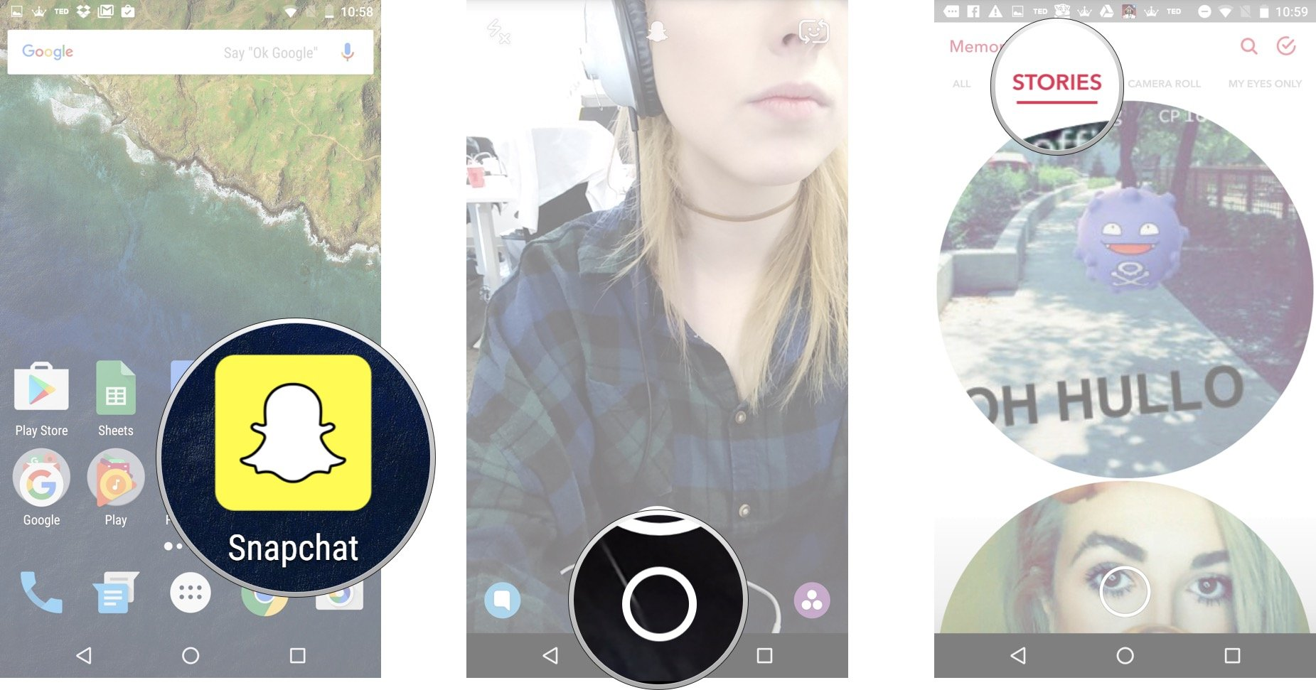 Launch Snapchat from your home screen and tap on the smaller white circle underneath the shutter button to access Memories. Tap the Stories tab at the top of the screen.
