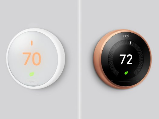 The Nest Learning Thermostat is shown beside the Nest Thermostat E