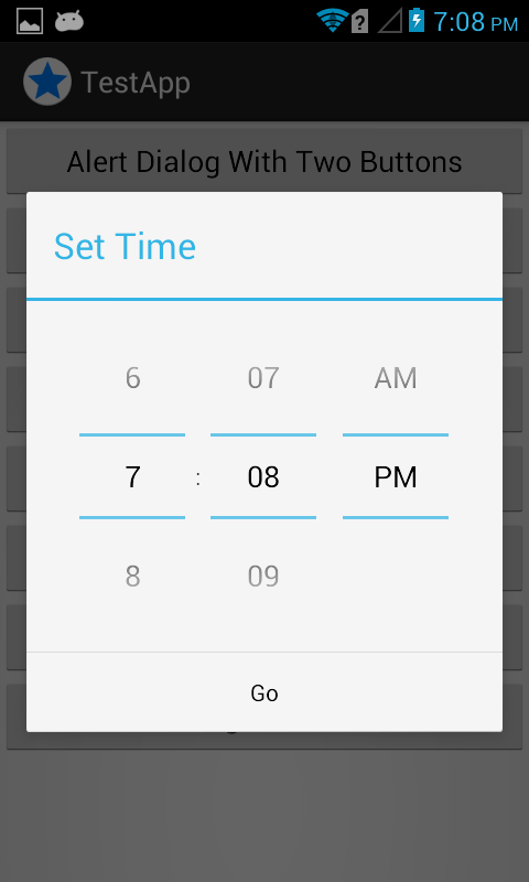 android alertdialog with timepicker
