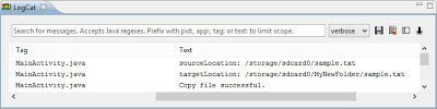 Logcat output when we successfuly copied a file. Click to enlarge.