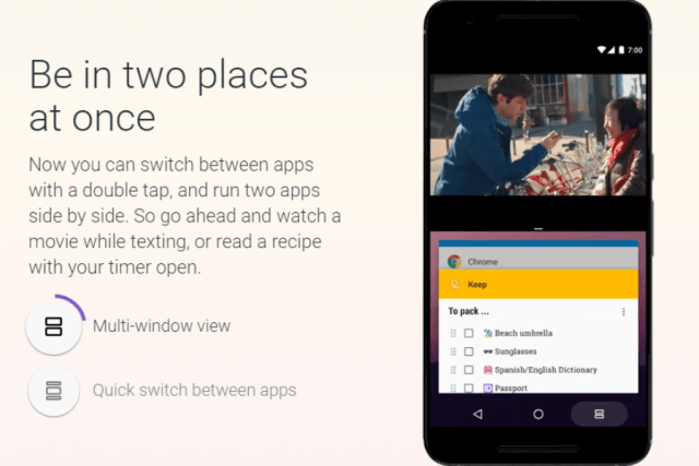 android nougat  multi-window mode feature
