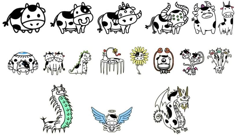 Todas la mutaciones de Cow Evolution