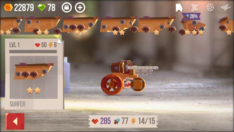 Selección de arma en Crash Arena Turbo Stars