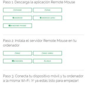 Remote Mouse para pc y móvil