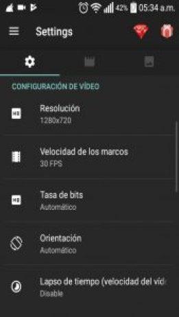 Configuración de Video
