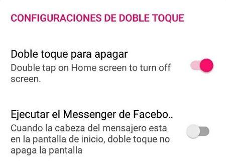 doble toque para apagar pantalla