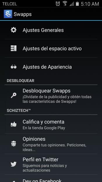 Opciones de configuración de Swapps