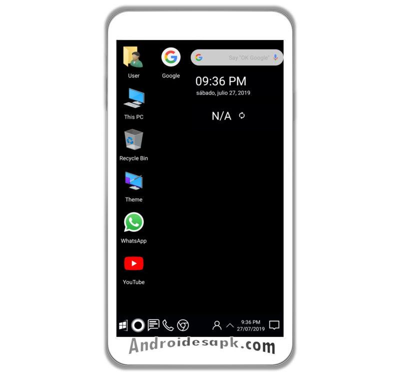 Un diseño muy particular de Windows 10 para Android.