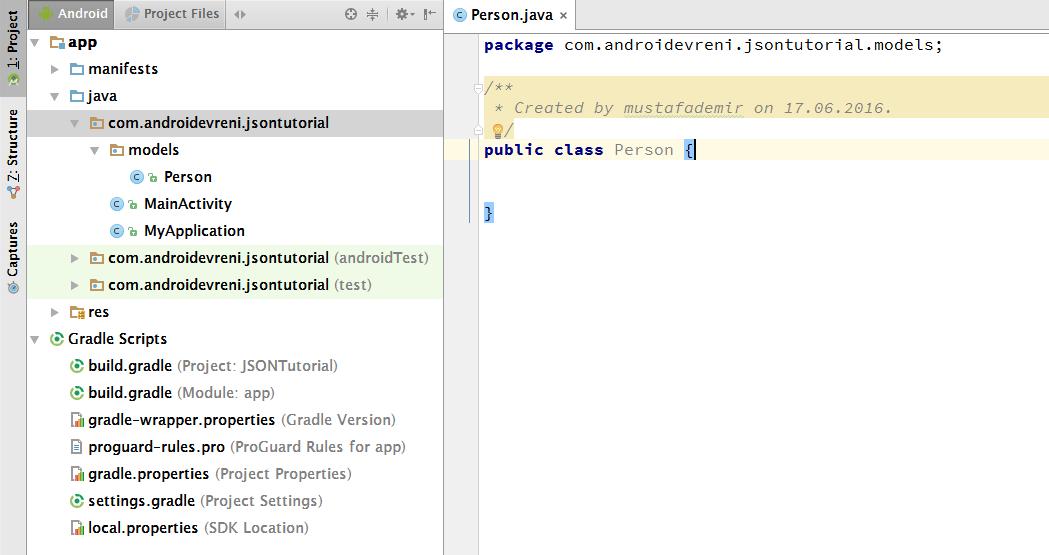 Android te JSON Veriyle Çalışmak - models package