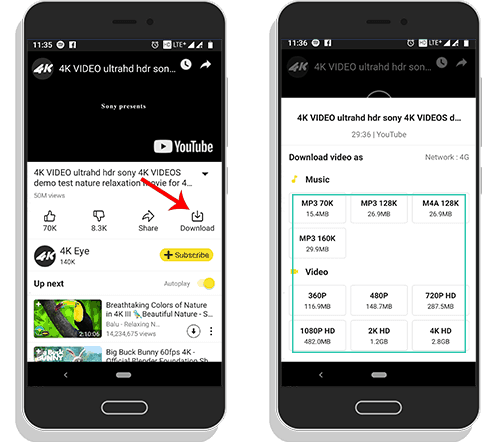 download 4k youtube videos from snaptube
