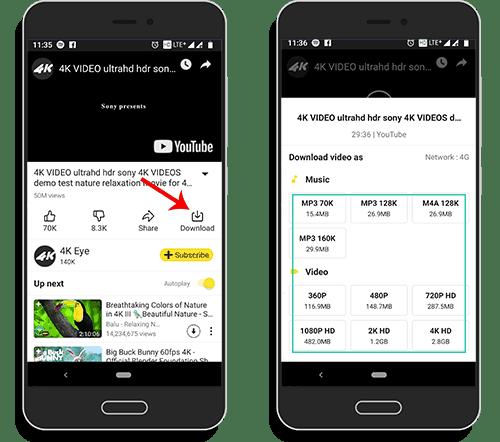 Download 4k youtube Videos von snaptube