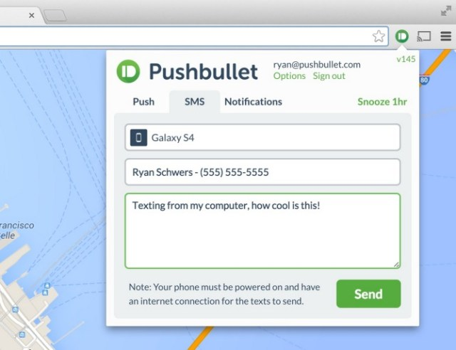 pushbullet sms update