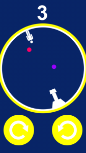 The balls bounce around the circle