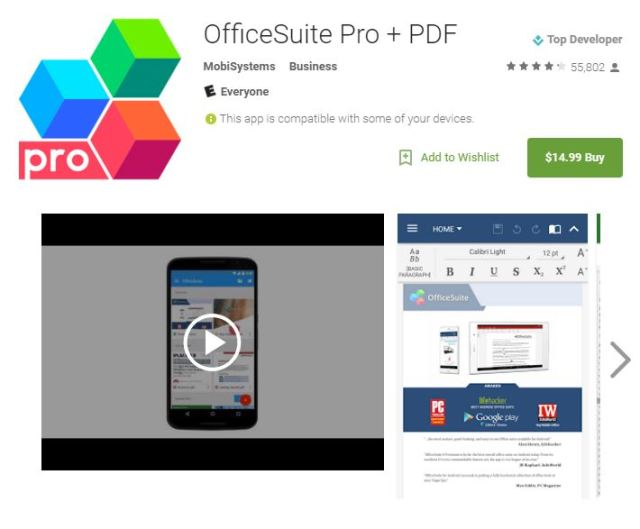OfficeSuite Professional $14.99 at the Google Play Store