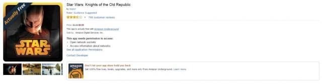 Star Wars: KOTOR free using the Amazon Underground app, normally $9.99