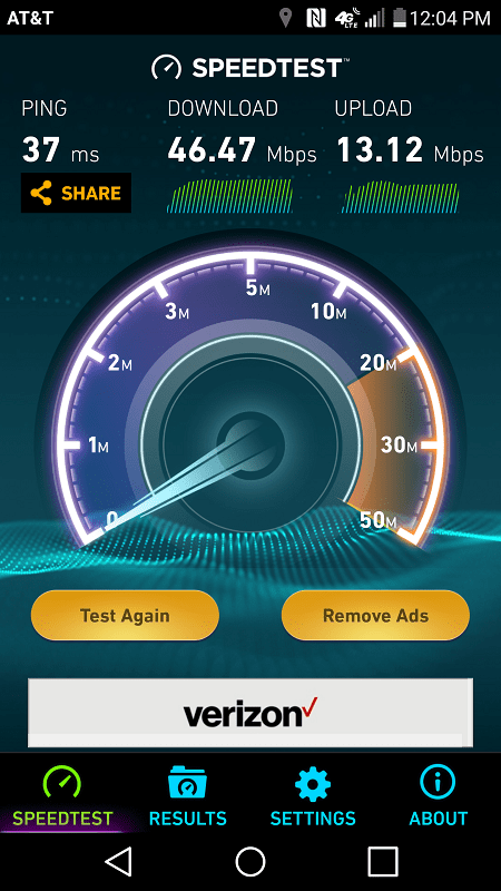 Sample AT&T LTE speed