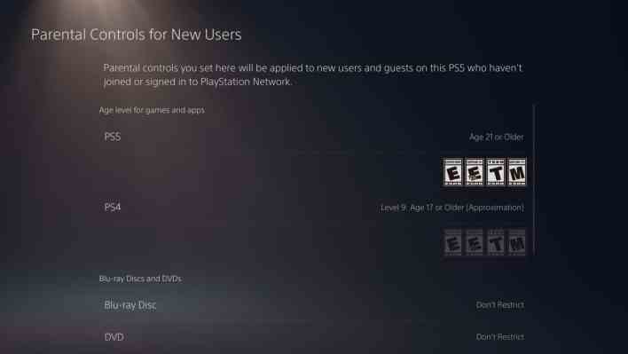 Parental controls on the PS5 2