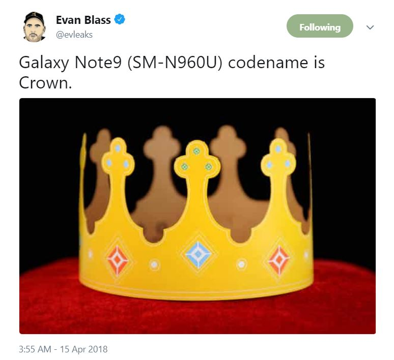 Samsung Galaxy Note 9 Codenamed 'Crown' All Set to Steal the Thunder