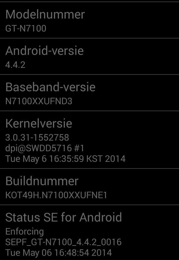 Galaxy Note 2 Android 4.4.2